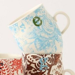 "Anthropologie Homegrown ""E"" Mug"